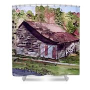 Green Creek Barn Shower Curtain