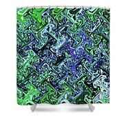 Green Crystal Digital Abstract Shower Curtain