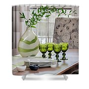 Green Decor Dinning Table Place Settings Shower Curtain