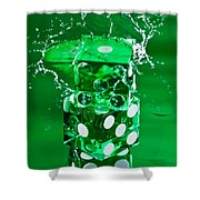 Green Dice Splash Shower Curtain