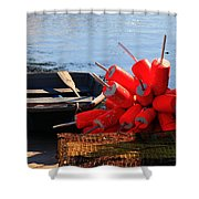 Green Dingy And Bouys Shower Curtain