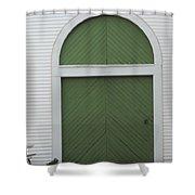 Green Door Arch Shower Curtain