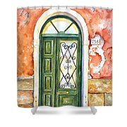 Green Door In Venice Italy Shower Curtain
