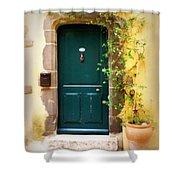 Green Door With Vine Shower Curtain