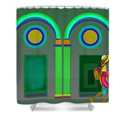 Green Doors Shower Curtain