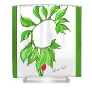Green Dragon With Fruit Cluster Shower Curtain