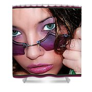 Green Eye'd Girl Shower Curtain