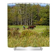 Green Farming Shower Curtain