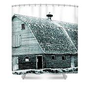 Green Field Barn Shower Curtain