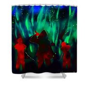 Green Flames In The Night Shower Curtain
