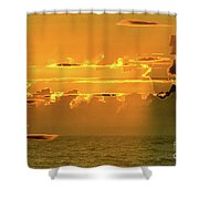 Green Flash Sunset II Shower Curtain