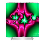 Green Flowers On Pink Ribbons Fractal 64 Shower Curtain