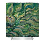 Green Flowing Flower Shower Curtain