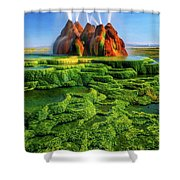 Green Fly Geyser Shower Curtain by Inge Johnsson