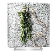 Green Fresh Rosemary On Granite Background Shower Curtain