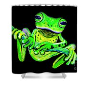 Green Frog On A Vine Shower Curtain