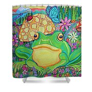 Green Frog With Flowers And Mushrooms Shower Curtain