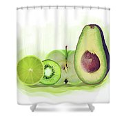 Green Fruits Watercolor Shower Curtain
