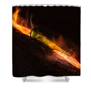 Green Glass Bottle And Campfire Shower Curtain