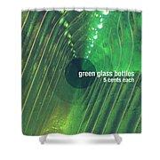 Green Glass Bottles Shower Curtain