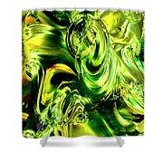 Green Glass Shower Curtain