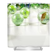 Green Glass Marbles Close-up Views Shower Curtain