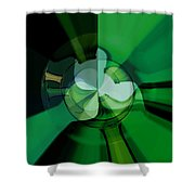 Green Glass Wheels Shower Curtain