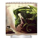 Green God Dragon Shower Curtain