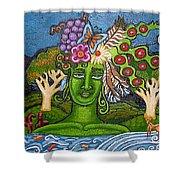 Green Goddesswith Waterfall2 Shower Curtain