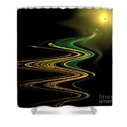 Green Gold Waves Shower Curtain