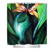 Green Golden Exotic Orchid Flower Shower Curtain