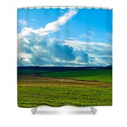 Green Grass And Blue Sky With White Clouds Shower Curtain