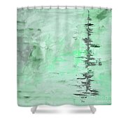Green Gray Abstract Shower Curtain