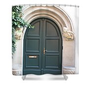 Green Guarded Door Shower Curtain
