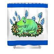 Green Happy Frog Shower Curtain