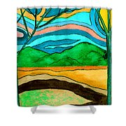 Green Hill Country Shower Curtain