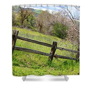 Green Hills And Rustic Fence Shower Curtain