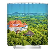 Green Hills Of Zagorje Region And Veliki Tabor Castle View Shower Curtain