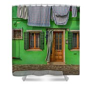 Green House And Hanging Wash_dsc5111_03042017 Shower Curtain