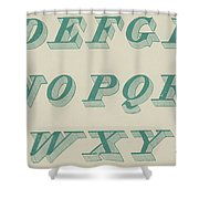 Green Italic Font Shower Curtain