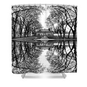 Green Lake Bathhouse Black And White Reflection Shower Curtain