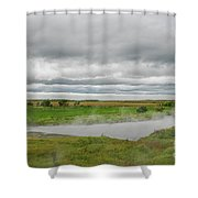Green Landscape With Steamy River Shower Curtain