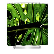 Green Leave With Holes Shower Curtain