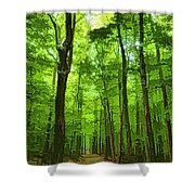 Green Light Harmony - Walking Through The Summer Forest Shower Curtain