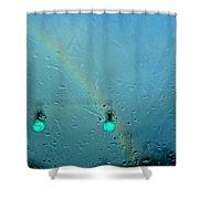 Green Light To A Rainbow Shower Curtain