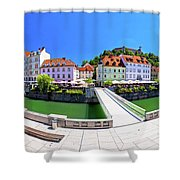 Green Ljubljana Riverfront Panoramic View Shower Curtain