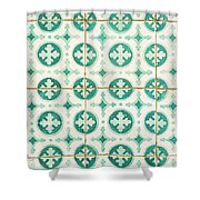 Green Lucky Charm Lisbon Tiles Shower Curtain