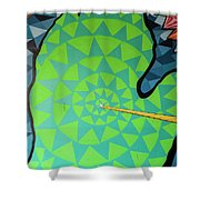Green Map Of Michigan With And Arrow Pointing To Lansing Michiga Shower Curtain