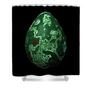 Green Marble Egg With Red Details Shower Curtain