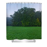 Green Meadow In Autumn Shower Curtain